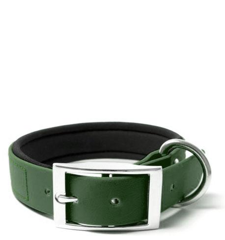 BIOTHANE® Halsband Deluxe Neopren (25mm) Tannengrün 50 - 58 cm