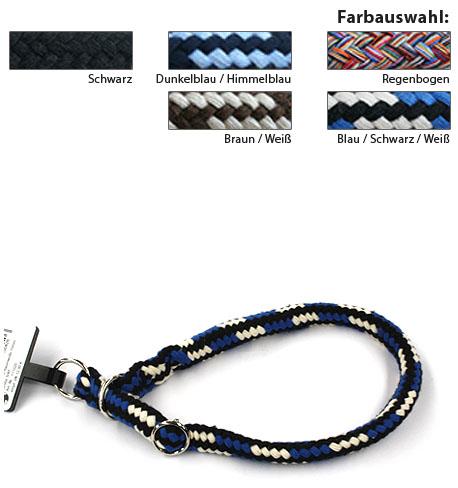 DINOLEINE - Baumwoll-Halsband 10mm M/55cm Blau/Schwarz/Weiß