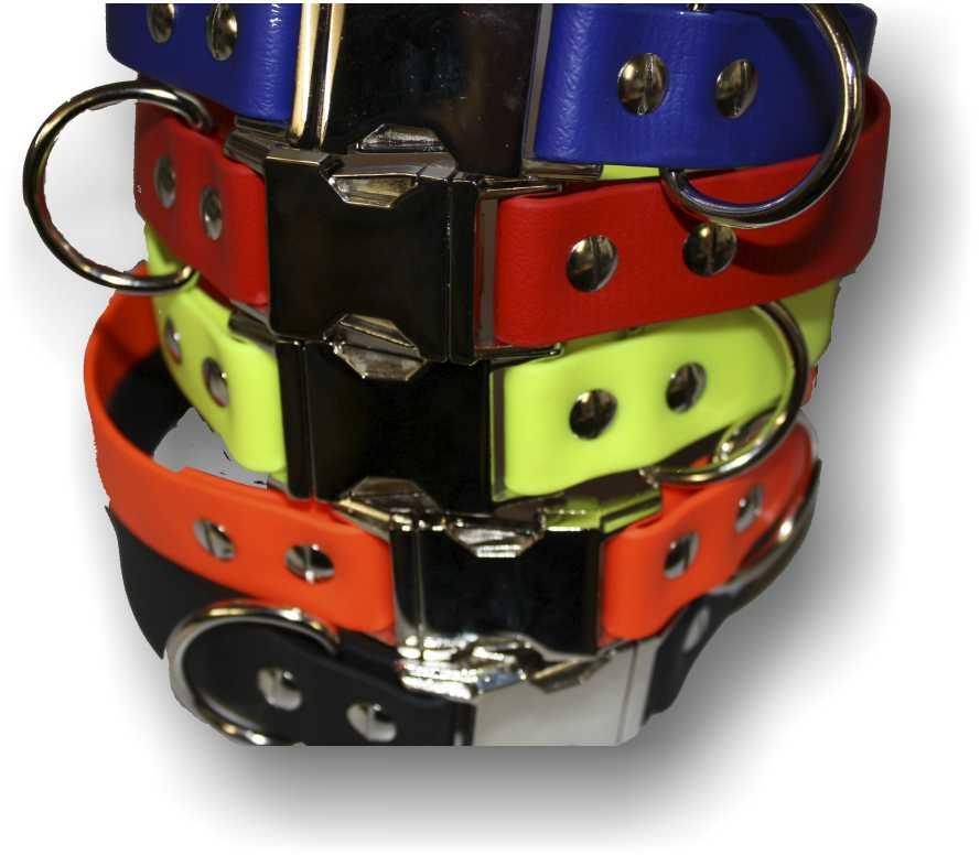 BIOTHANE® Halsband mit Metallverschluß 25mm breit 35cm Neongrün