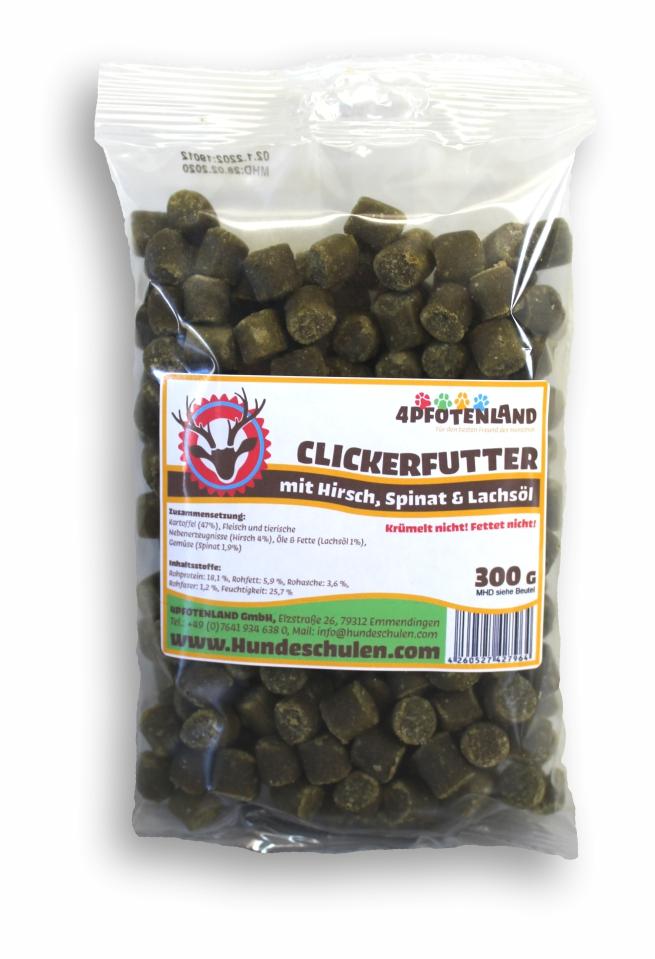 Clickerfutter mit Hirsch, Spinat & Lachsöl (300g)
