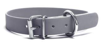 Biothane® Halsband mit Rollenschnalle / grau 19mm 35 - 43cm Halsumfang