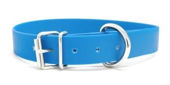 Biothane Halsband mit Rollenschnalle / himmelblau 19mm 50 - 58cm Halsumfang