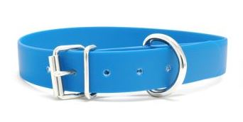 Biothane Halsband mit Rollenschnalle / himmelblau 25mm 50 - 58cm Halsumfang