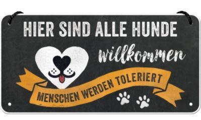 """PfotenSchild -Hängeschild """"Hunde willkommen, Menschen toleriert"""""""