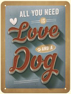 "PfotenSchild -Blechschild 15x20cm  ""Love Dog"""