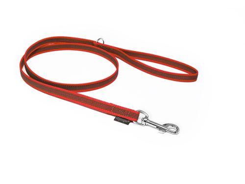 MYSTIQUE® Gummierte Leine genäht 12mm 1.20m mit Handschlaufe  rot