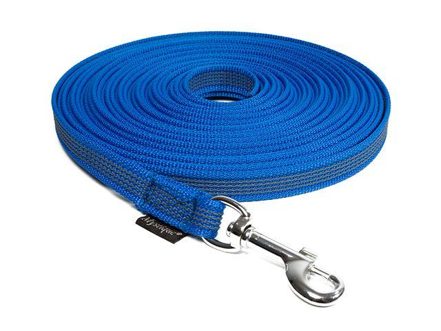 MYSTIQUE® Gummierte Leine genäht 12mm  5.00m mit Handschlaufe  blau