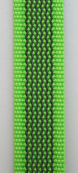 Gummierte Leine genäht 20mm mit Handschlaufe 20.00m neongrün