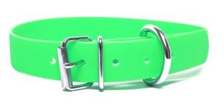 Biothane® Halsband mit Rollenschnalle / neongrün 19mm 30 - 38cm Halsumfang