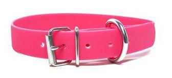 Biothane® Halsband mit Rollenschnalle / neonpink 25mm 35 - 43cm Halsumfang