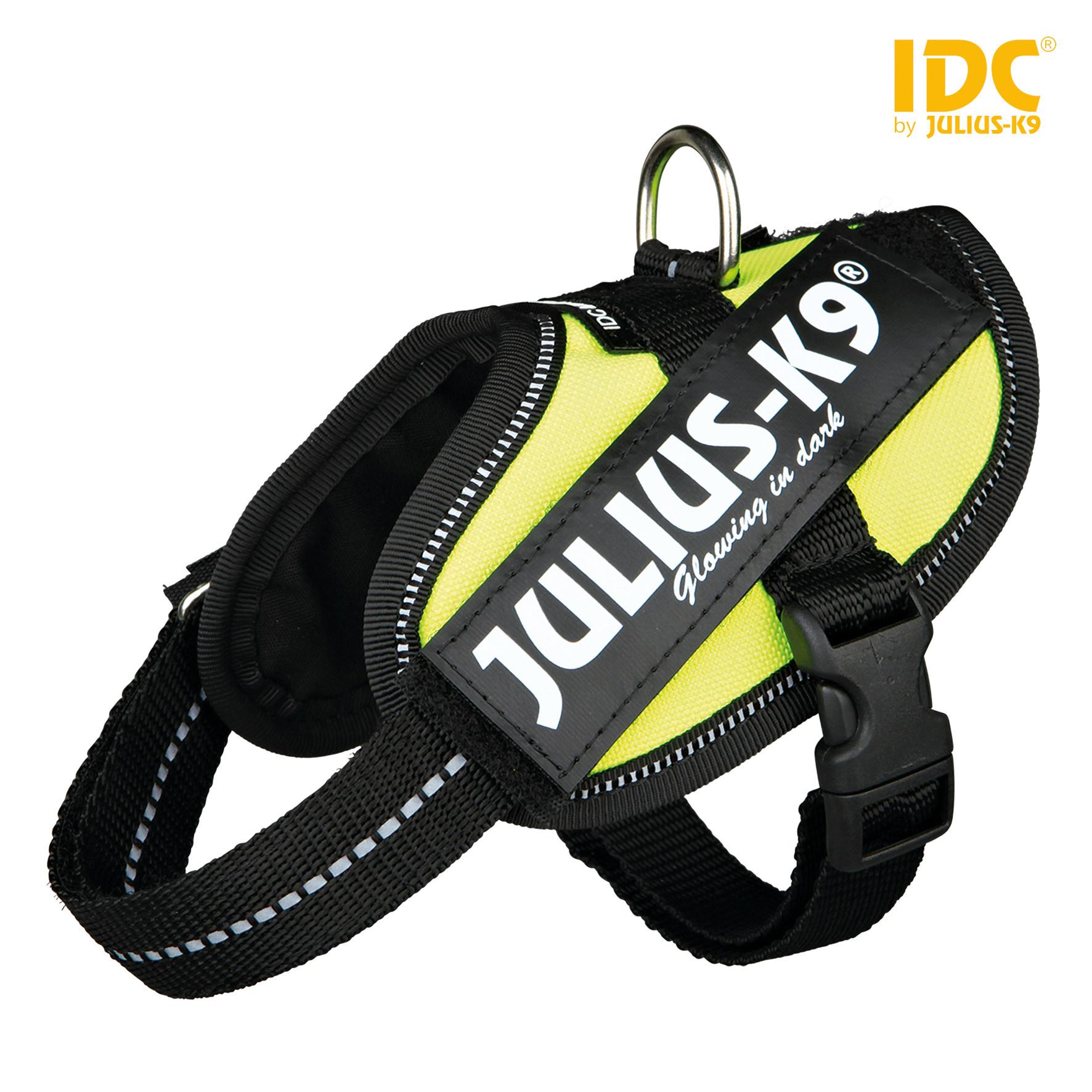 TRIXIE Julius-K9 IDC Powergeschirr Baby 2/Mini-Mini/Mini TRIXIE Julius-K9® IDC® Powergeschirr®, 2XS/Baby 2: 33–45 cm/18 mm, neongrün