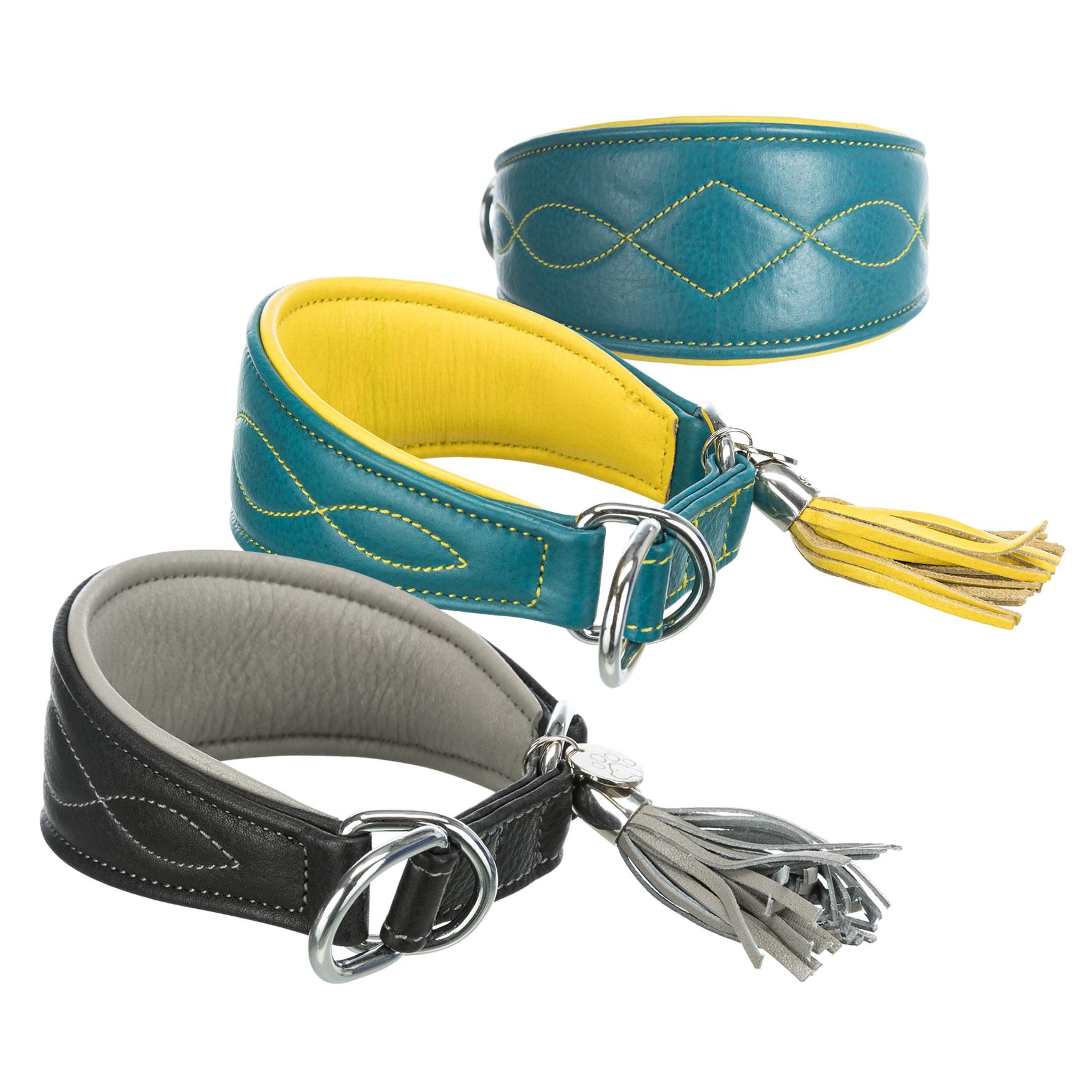 TRIXIE Active Comfort Halsband für Windhunde, Leder TRIXIE Active Comfort Halsband für Windhunde, Leder, S: 27–35 cm/55 mm, petrol/gelb