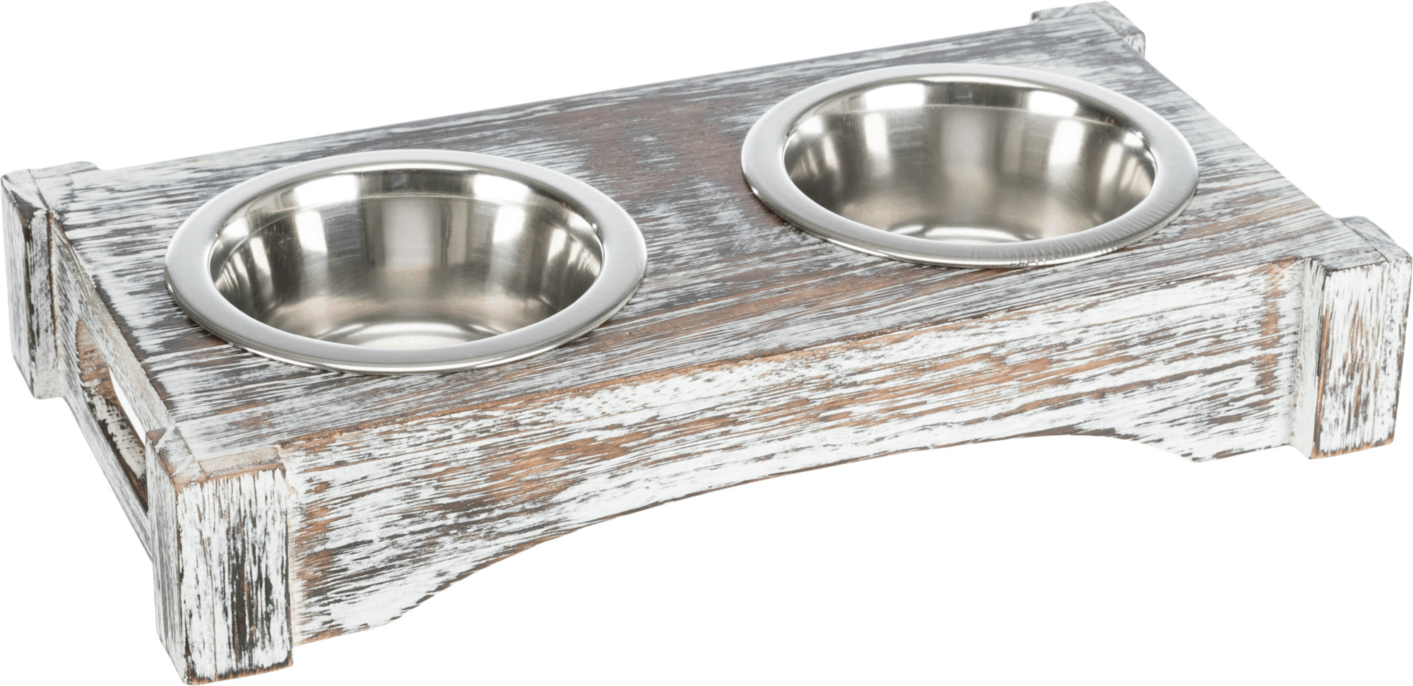 TRIXIE Napf-Set, Edelstahl/Holz TRIXIE Napf-Set, Edelstahl/Holz, 2 × 0,2 l/ø 10 cm/30 × 5 × 16 cm, weiß
