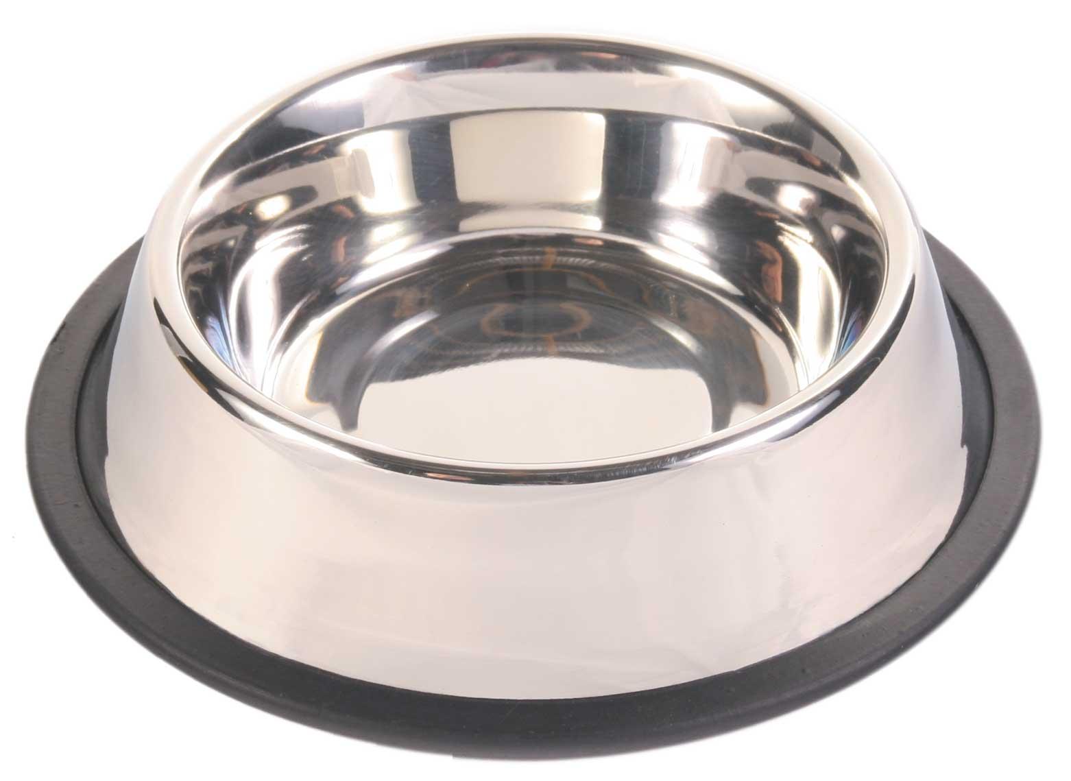 TRIXIE Edelstahlnapf, mit Gummiring TRIXIE Napf, Edelstahl/Gummiring, 0,45 l/ø 19 cm