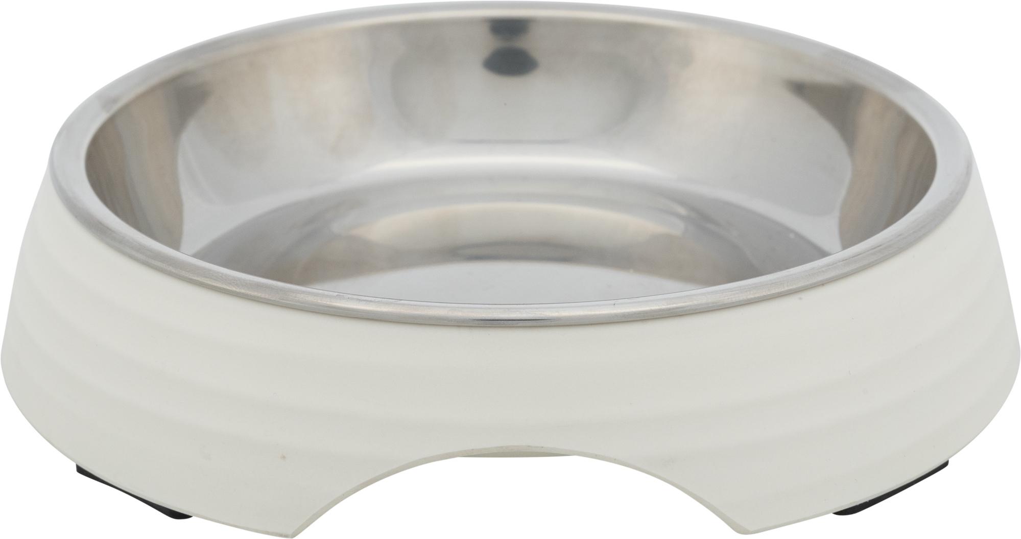 TRIXIE Napf, Melamin/Edelstahl, 0,2 l/ø 14 cm, weiß