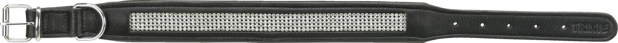 TRIXIE Active Comfort Halsband mit Strass, Leder TRIXIE Active Comfort Halsband mit Strass, Leder, M: 38–48 cm/25 mm, schwarz