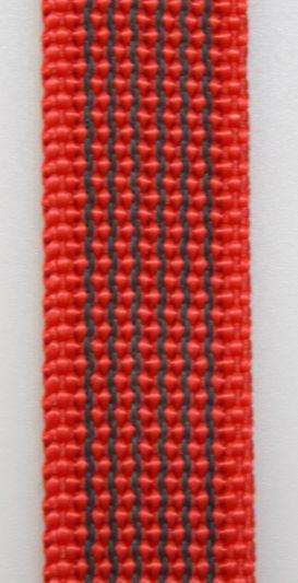 Gummierte Leine genäht 15mm mit Handschlaufe  20.00m rot