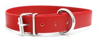 Biothane® Halsband mit Rollenschnalle / rot 25mm 35 - 43cm Halsumfang
