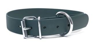 Biothane® Halsband mit Rollenschnalle / tannengrün 25mm 55 - 63cm Halsumfang