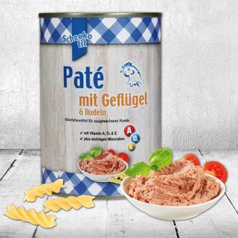Schecker - Schecko fit Paté mit Geflügel & Nudeln, Pastete für Hunde 1 x 400 g