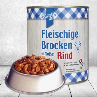 Schecker - Schecko fit Fleischige Brocken in Soße, Rind, Nassfutter, 800 g