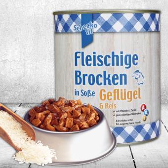 Schecker - Schecko fit Fleischige Brocken in Soße, Geflügel & Reis, 1 x 800 g