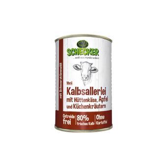 Schecker - Hundemenü - Kalbsallerlei mit Hüttenkäse, Apfel und Küchenkräutern, 1x410 g