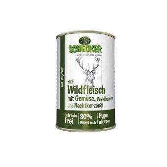 Schecker - Hundemenü -Wildfleisch mit Gemüse, Wald-beeren & Nachtkerzenöl, 1x410g