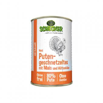 Schecker - Hundemenü - Putengeschnetzeltes mit Mais & Hüttenkäse, 1x410 g