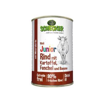 Schecker -  Hundemenü - Junior Rind mit Kartoffel, Fenchel & Banane, 1x410 g