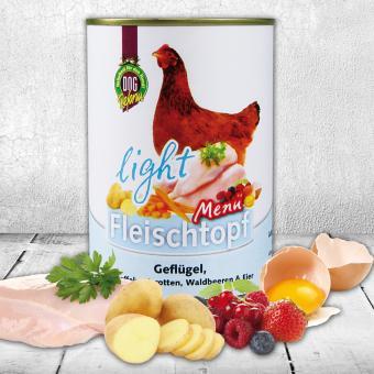 Schecker - DOGREFORM Fleischtopf-Menü light mit Geflügel, Kartoffeln, Karotten, Waldbeeren & Eier, 1 x 410 g