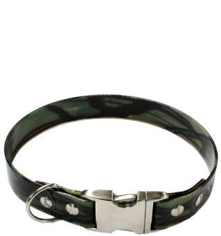 Biothane® Halsband mit Metallverschluß CAMOUFLAGE Grün (25mm)