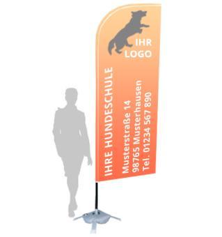 """Werbefahne """"Standard"""" mit Ihrem Logo (87 x 303 cm, inkl. Ständer & Transporttasche)"""