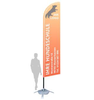 """Werbefahne """"Large"""" mit Ihrem Logo (88 x 460 cm, inkl. Ständer & Transporttasche)"""