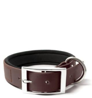 BIOTHANE® Halsband Deluxe Neopren (25mm) Braun 40 - 48 cm