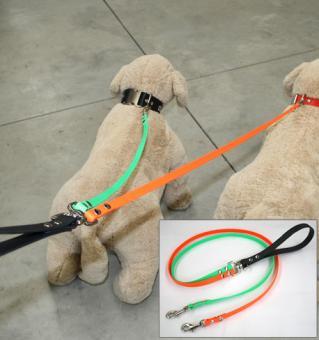BIOTHANE® (Beta) Profi-Doppelführleine für zwei Hunde 13mm oder 19mm