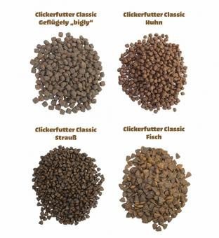 Clickerfutter CLASSIC 400g, 800g, 2kg; Huhn, Strauß, Geflügel oder Fisch