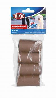 TRIXIE Dog Pick Up Hundekotbeutel, kompostierbar, M, 4 Rollen à 10 Btl., braun