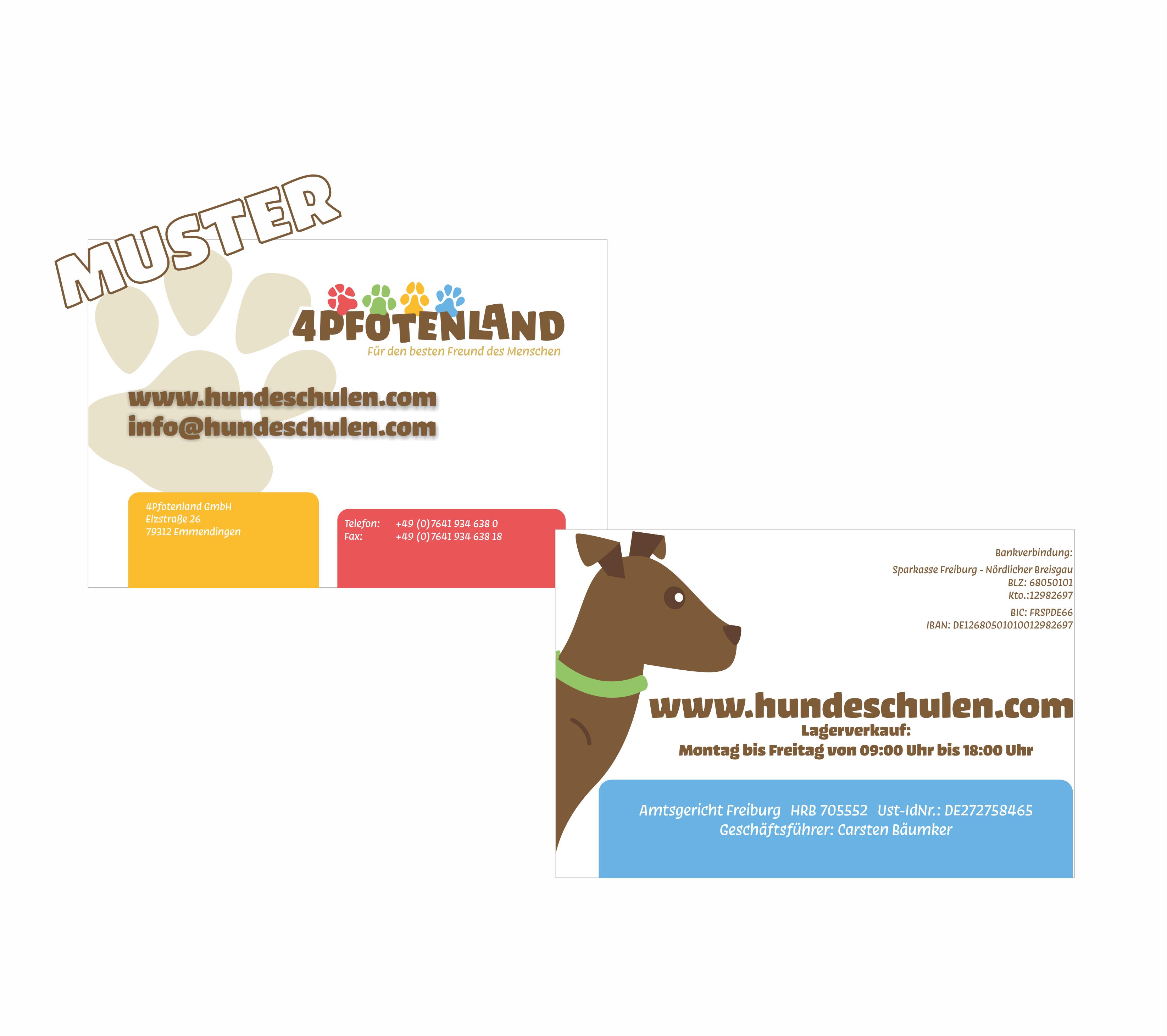 Hundeshop Erstauftrag Visitenkarten Mit Ihrem Logo 250 1000 St